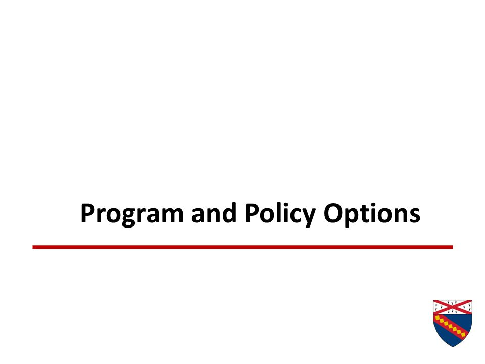 Program and Policy Options