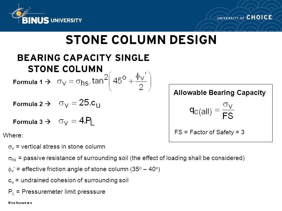 STONE COLUMN DESIGN BEARING CAPACITY SINGLE STONE COLUMN