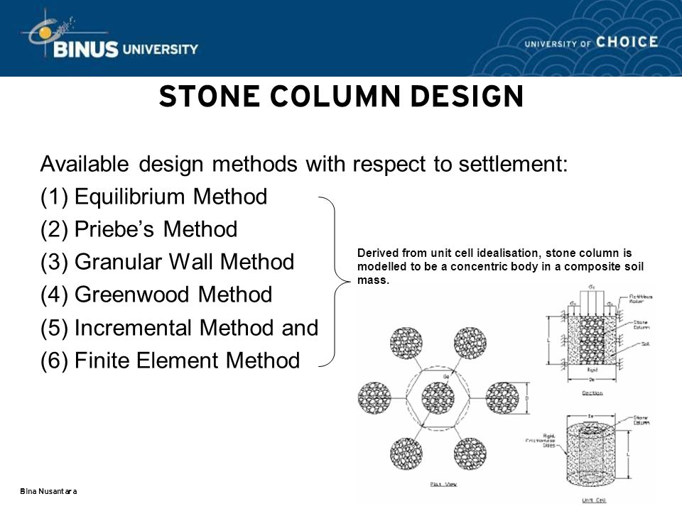 STONE COLUMN DESIGN Available design methods with respect to settlement: (1) Equilibrium Method. (2) Priebe's Method.