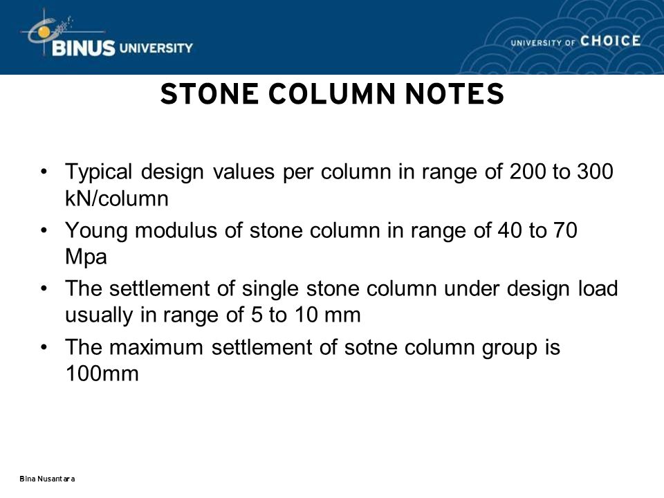 STONE COLUMN NOTES Typical design values per column in range of 200 to 300 kN/column. Young modulus of stone column in range of 40 to 70 Mpa.