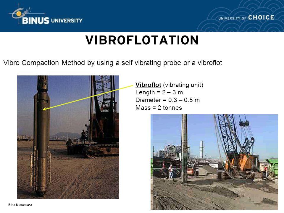 VIBROFLOTATION Vibro Compaction Method by using a self vibrating probe or a vibroflot.