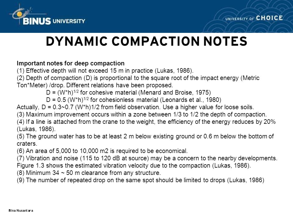 DYNAMIC COMPACTION NOTES