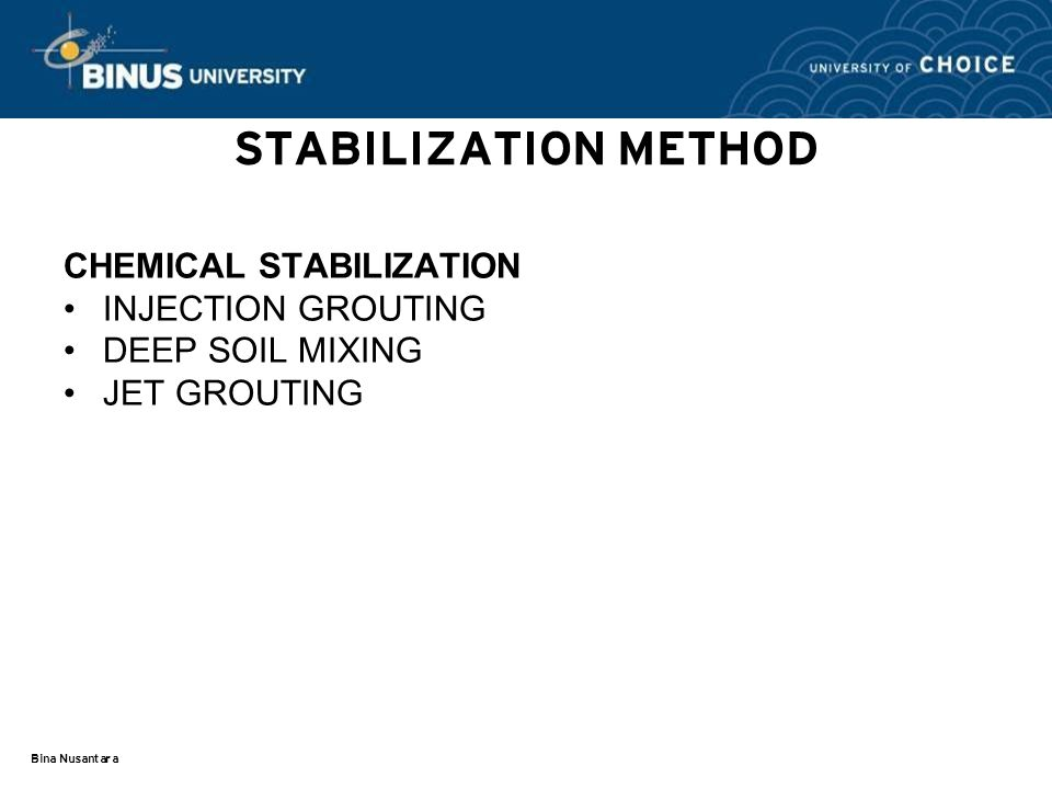 STABILIZATION METHOD CHEMICAL STABILIZATION INJECTION GROUTING