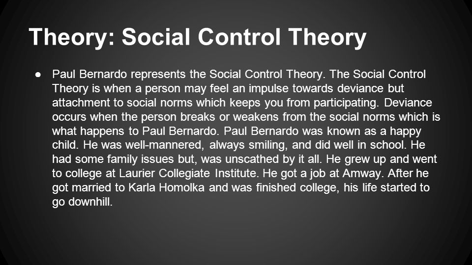 Theory: Social Control Theory