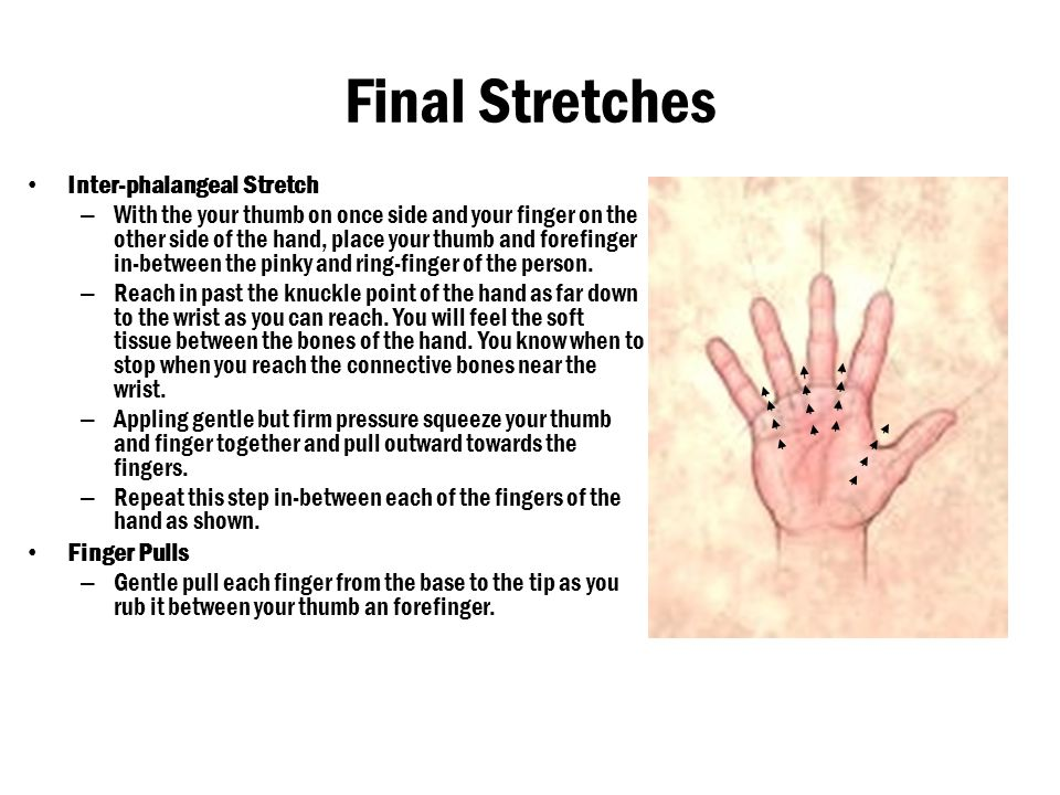 Final Stretches Inter-phalangeal Stretch Finger Pulls