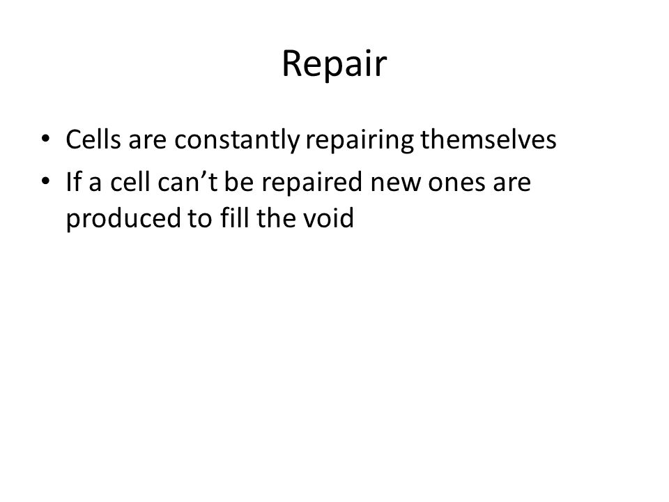 Repair Cells are constantly repairing themselves