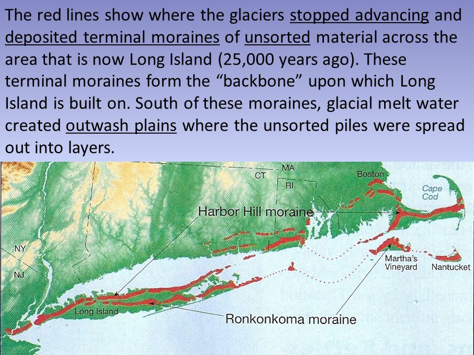 The red lines show where the glaciers stopped advancing and deposited terminal moraines of unsorted material across the area that is now Long Island (25,000 years ago).