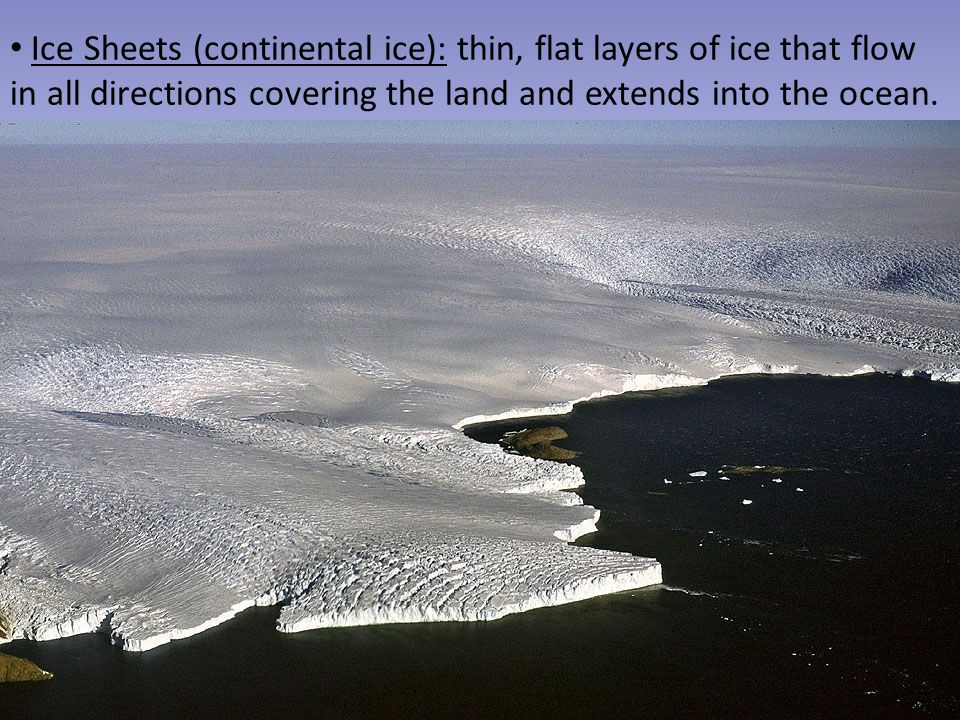 Ice Sheets (continental ice): thin, flat layers of ice that flow in all directions covering the land and extends into the ocean.