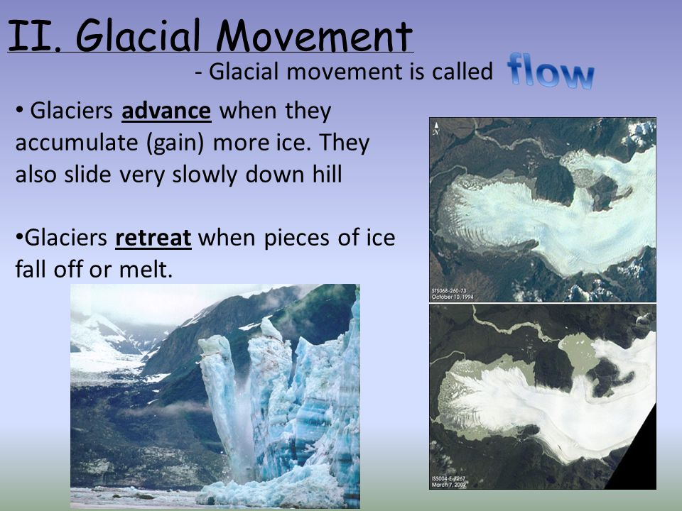 flow II. Glacial Movement - Glacial movement is called