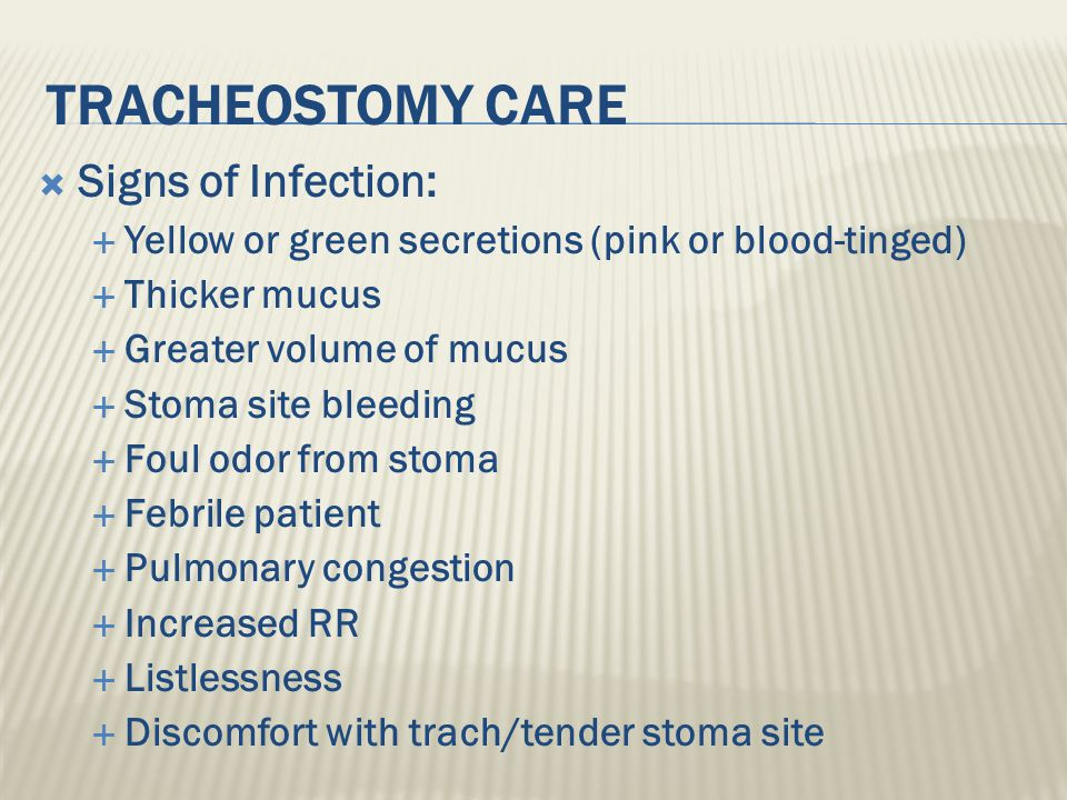 Tracheostomy Care Signs of Infection: