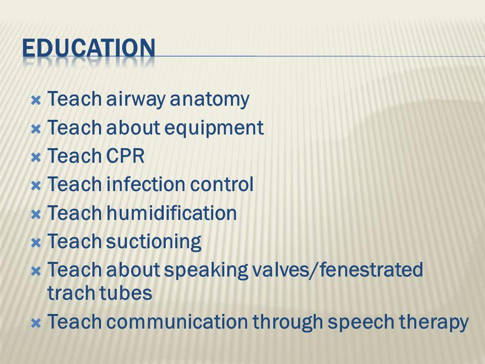Education Teach airway anatomy Teach about equipment Teach CPR