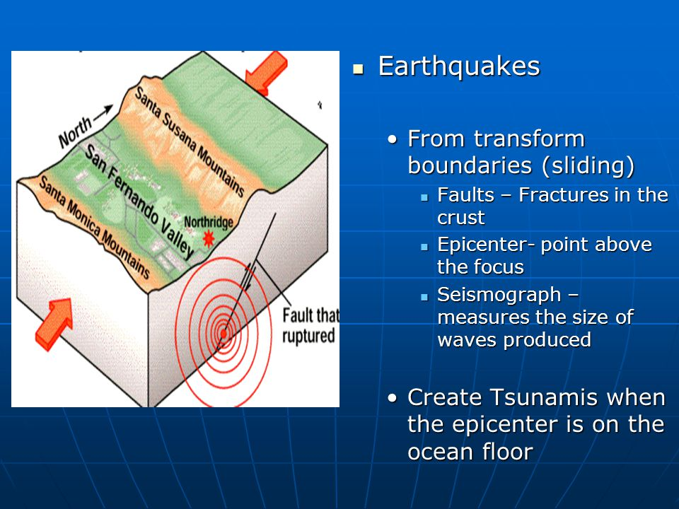 Earthquakes From transform boundaries (sliding)
