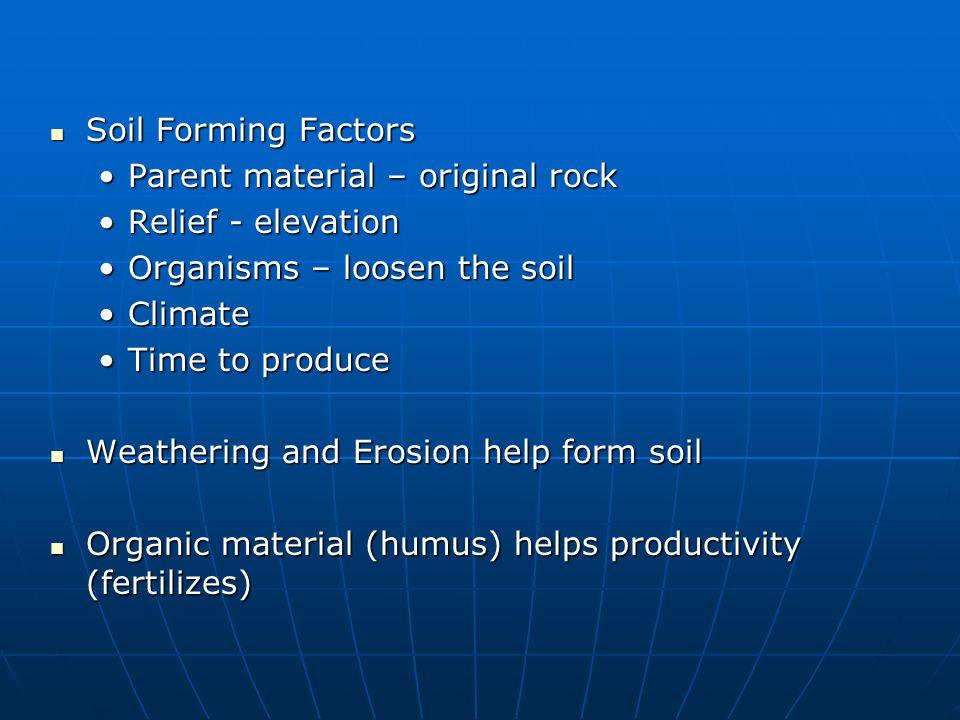 Soil Forming Factors Parent material – original rock. Relief - elevation. Organisms – loosen the soil.