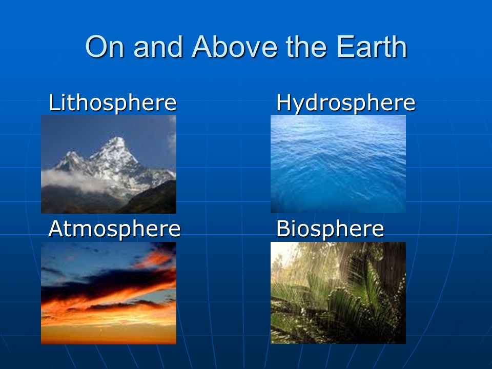 On and Above the Earth Lithosphere Hydrosphere Atmosphere Biosphere