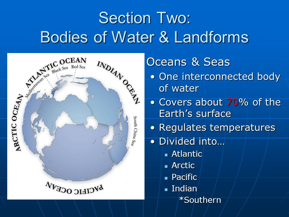 Section Two: Bodies of Water & Landforms