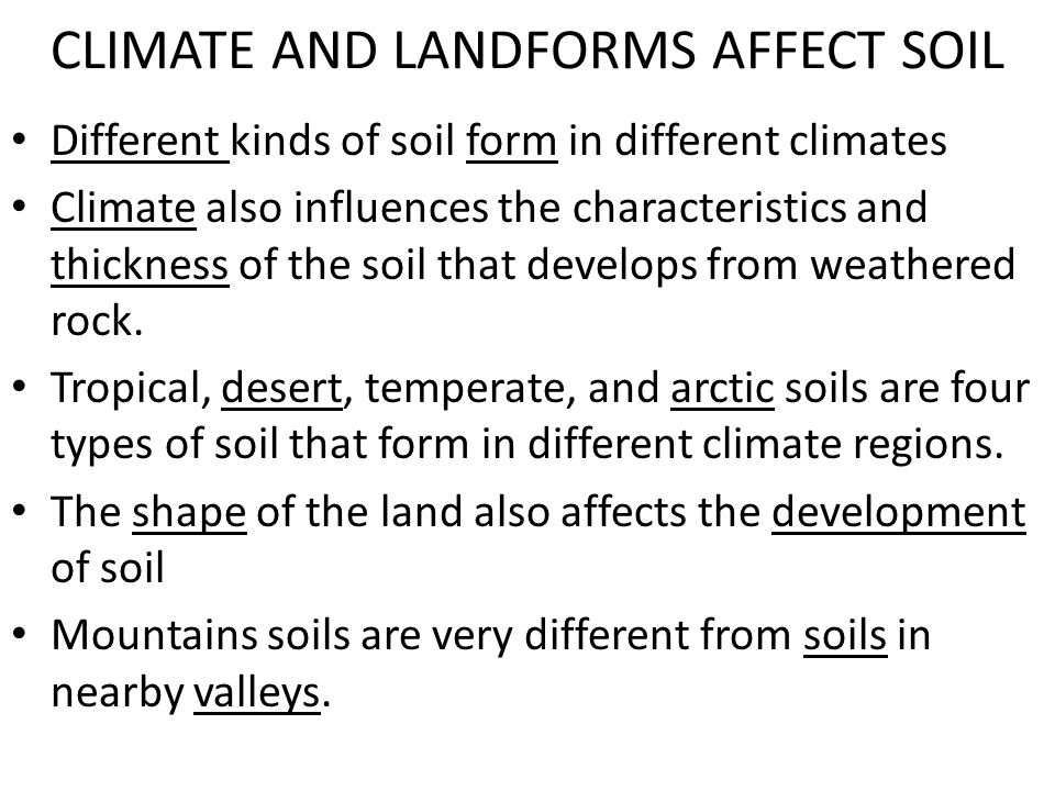 CLIMATE AND LANDFORMS AFFECT SOIL
