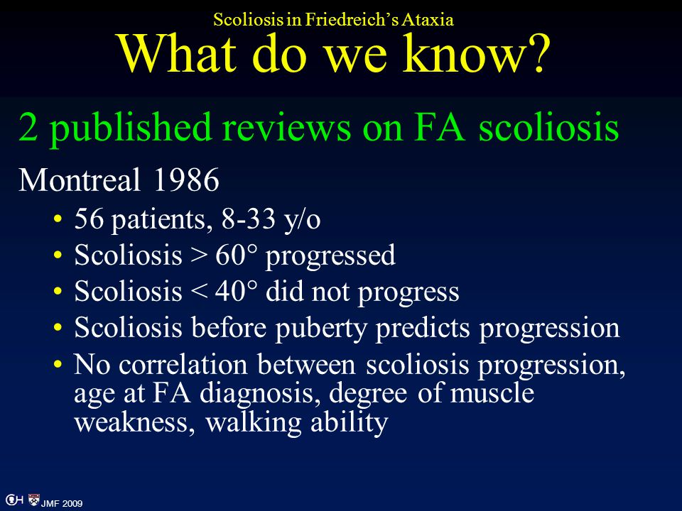 Scoliosis in Friedreich's Ataxia What do we know