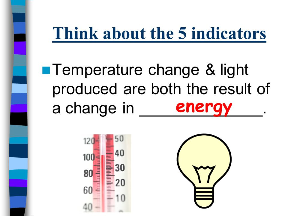 Think about the 5 indicators