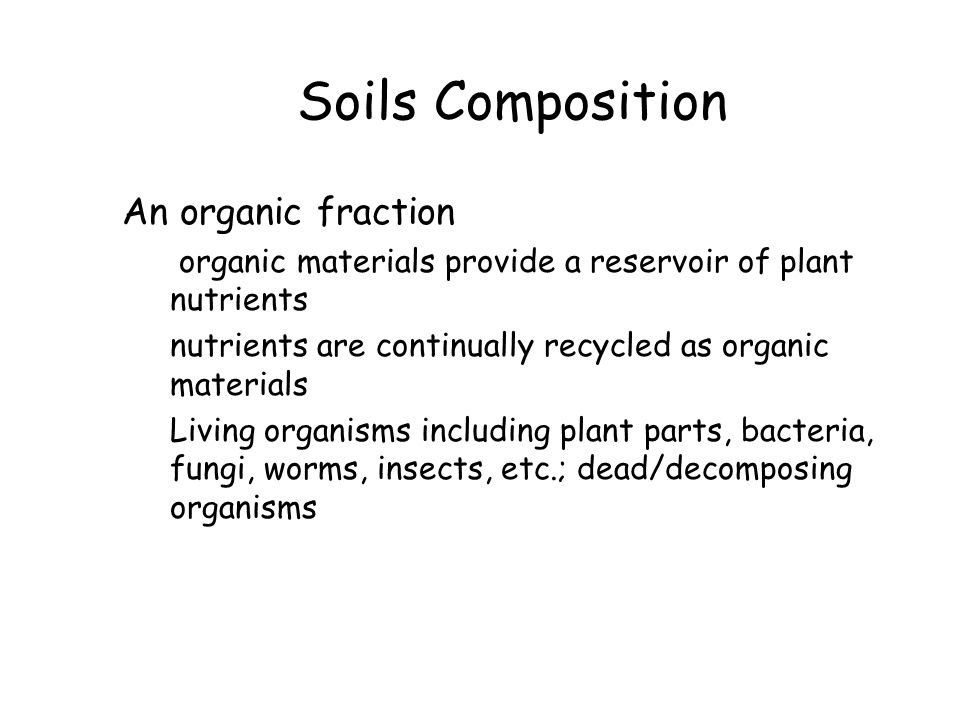 Soils Composition An organic fraction