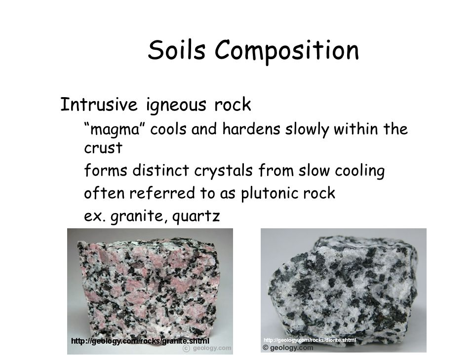 Soils Composition Intrusive igneous rock