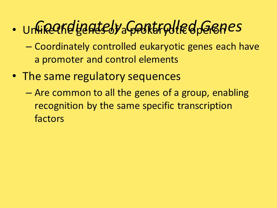 Coordinately Controlled Genes