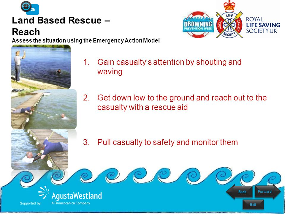 2h Land Based Rescue – Reach Assess the situation using the Emergency Action Model. Gain casualty's attention by shouting and waving.
