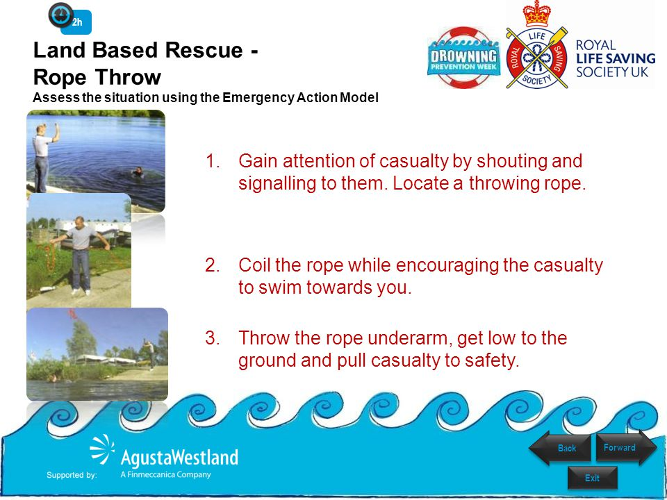 2h Land Based Rescue - Rope Throw Assess the situation using the Emergency Action Model.