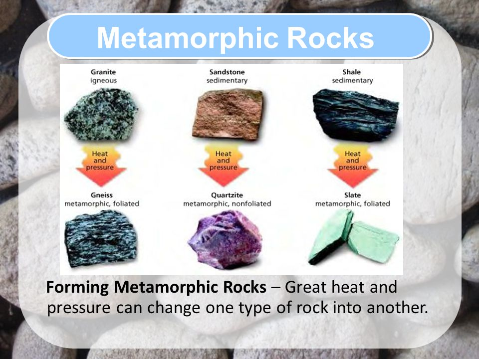 Metamorphic Rocks Forming Metamorphic Rocks – Great heat and pressure can change one type of rock into another.