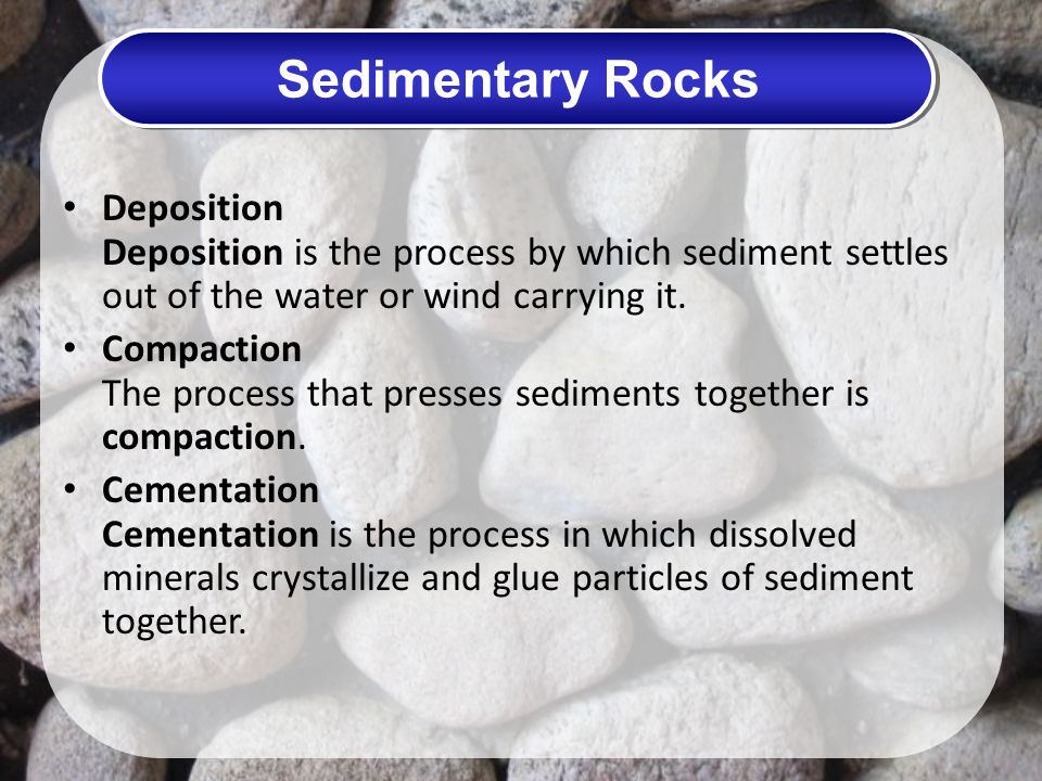 Sedimentary Rocks Deposition Deposition is the process by which sediment settles out of the water or wind carrying it.