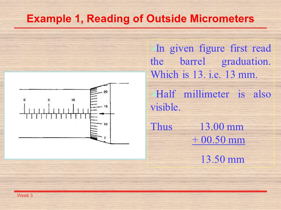 Example 1, Reading of Outside Micrometers