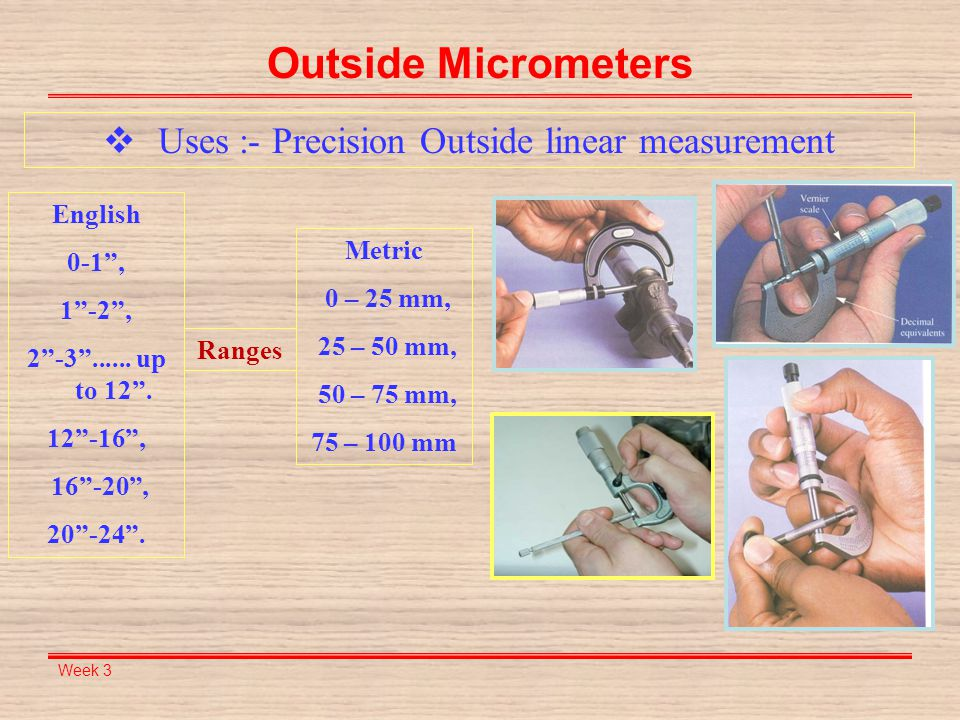 Uses :- Precision Outside linear measurement