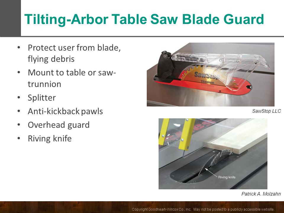 Tilting-Arbor Table Saw Blade Guard
