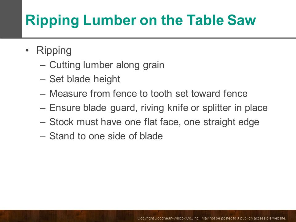 Ripping Lumber on the Table Saw