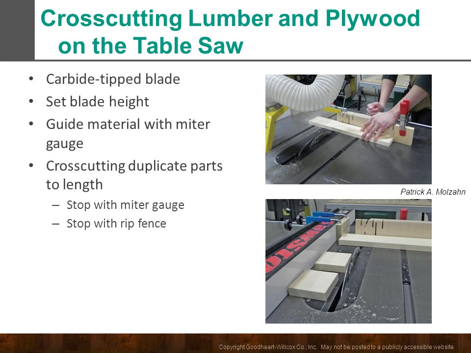Crosscutting Lumber and Plywood on the Table Saw
