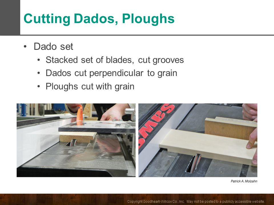 Cutting Dados, Ploughs Dado set Stacked set of blades, cut grooves
