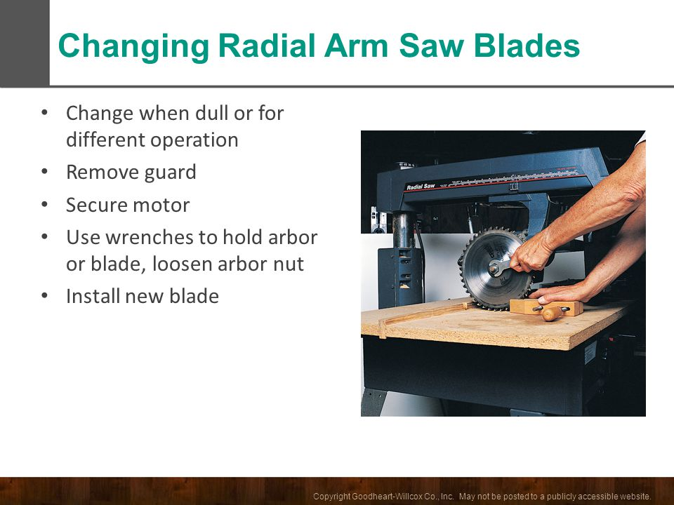 Changing Radial Arm Saw Blades