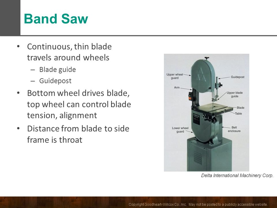 Band Saw Continuous, thin blade travels around wheels