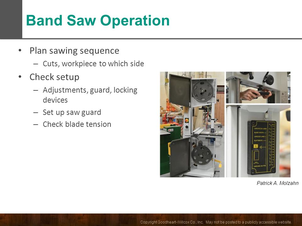 Band Saw Operation Plan sawing sequence Check setup