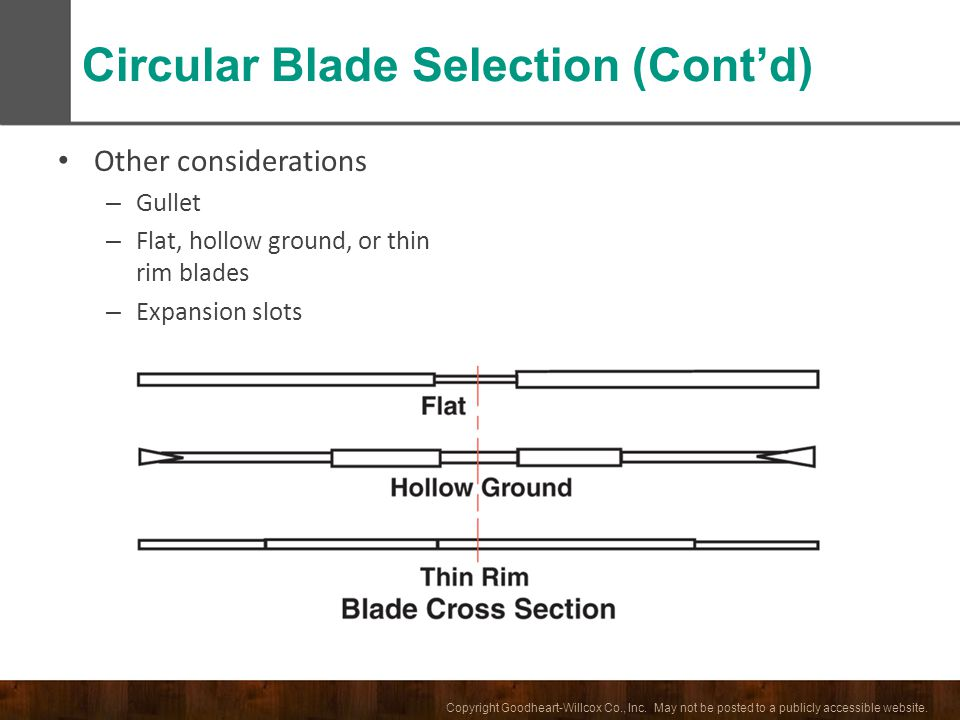 Circular Blade Selection (Cont'd)
