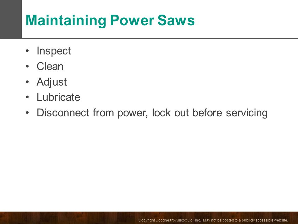 Maintaining Power Saws
