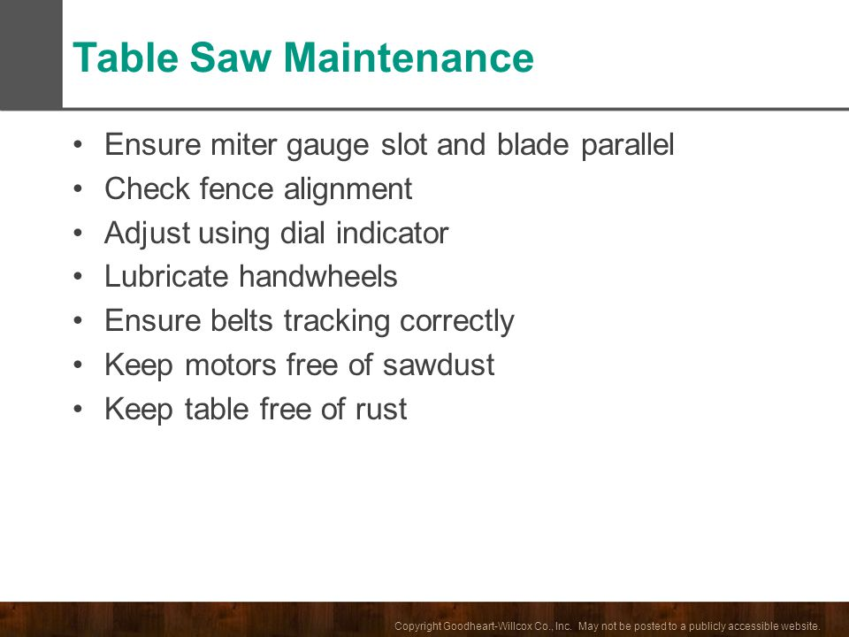 Table Saw Maintenance Ensure miter gauge slot and blade parallel