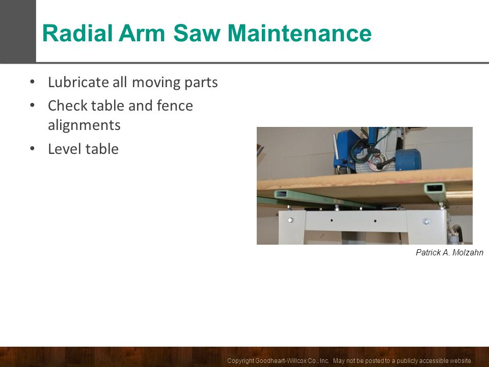 Radial Arm Saw Maintenance