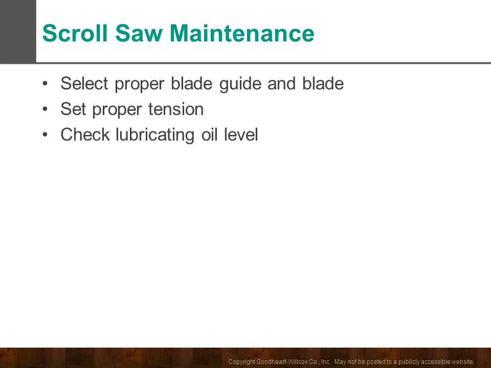 Scroll Saw Maintenance