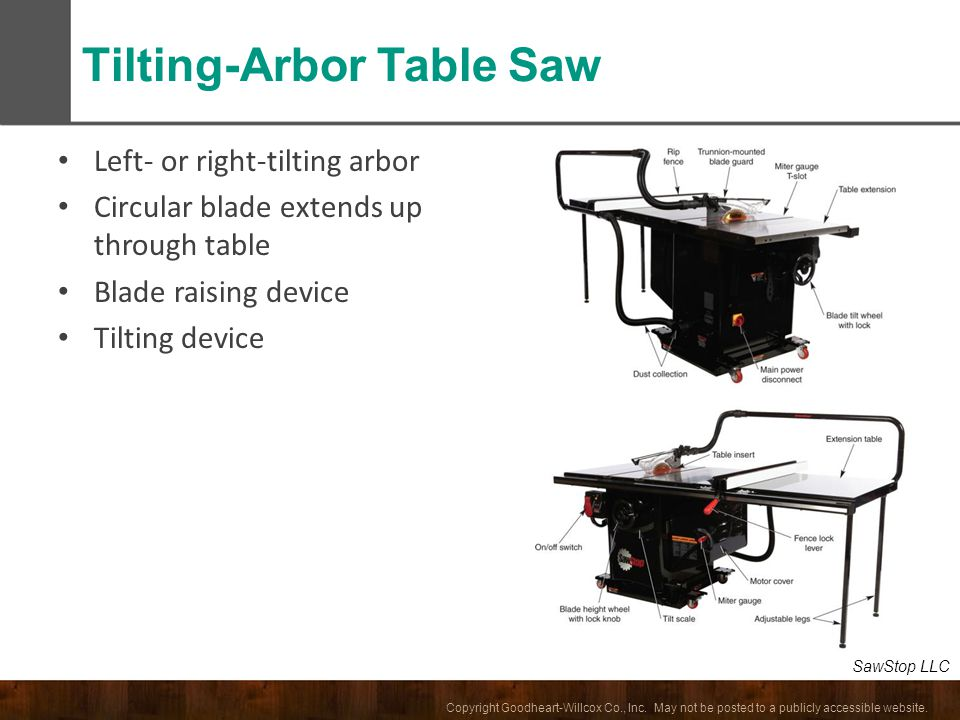 Tilting-Arbor Table Saw