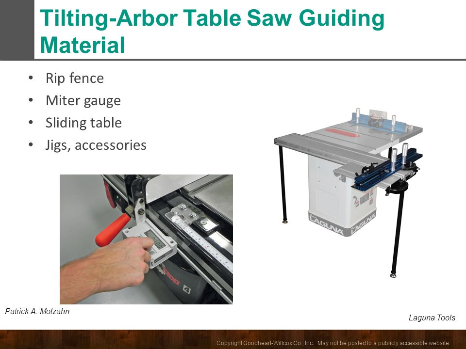 Tilting-Arbor Table Saw Guiding Material