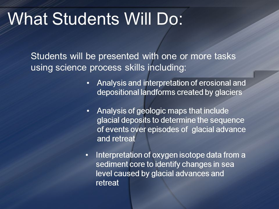 What Students Will Do: Students will be presented with one or more tasks using science process skills including: