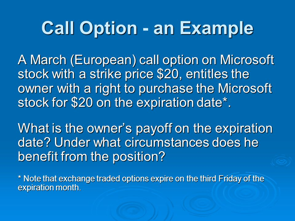 Call Option - an Example