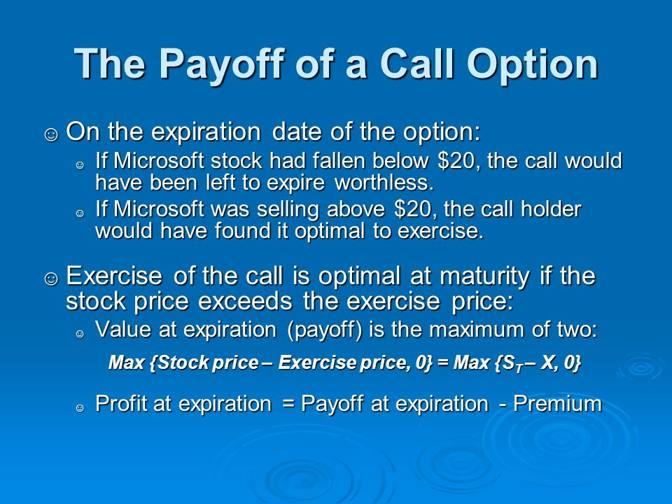 The Payoff of a Call Option