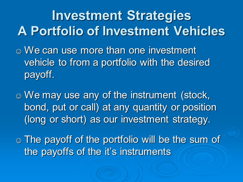 Investment Strategies A Portfolio of Investment Vehicles