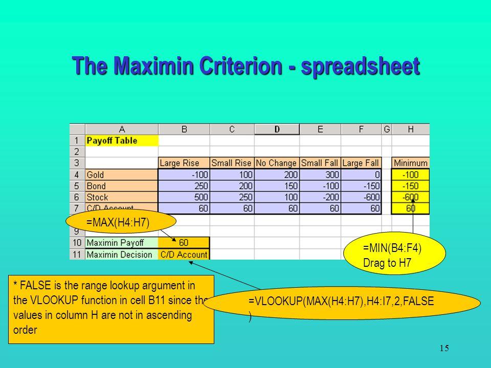 The Maximin Criterion - spreadsheet